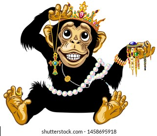 cartoon chimp monkey or chimpanzee wearing a gold crown, playing with gemstone jewelry and holding a necklace with golden cross, feels admiration, expresses joyful emotions. Isolated vector