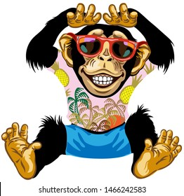 Cartoon Chimpanzee great ape wearing red sunglasses and shirts with palm trees. Sitting Chimp monkey in vacation smiling with a big smile on face showing teeth. Front view. Isolated vector