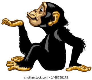 Cartoon chimpanzee keeping empty cupped hand palm up. Great ape or chimp monkey in sitting pose blowing air kiss. Positive attractive joyful and happy emotion. Side view isolated vector illustration