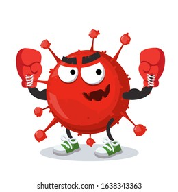 cartoon China's Coronavirus cell 2019 mascot in red boxing gloves on white background