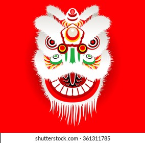 Cartoon Chinese lion head