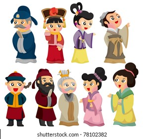 cartoon Chinese people icon set