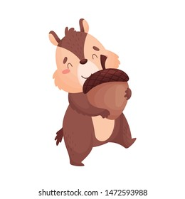 Cartoon chipmunk with an acorn. Vector illustration on white background.