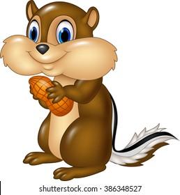 Cartoon chipmunk holding peanut isolated on white background