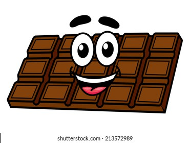 Cartoon chocolate character with face, eyes, mouth and smile. Isolated on white background. Suitable for cafe, candy and food design