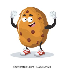 cartoon chocolate chips cookie mascot shows its strength on a white background