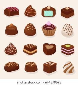 Cartoon chocolate desserts and candies vector set