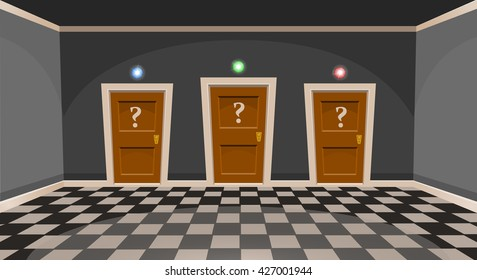 "Cartoon ""choose a door"" concept. Empty room with three door in grey style. Vector illustration"