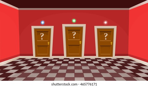 "Cartoon ""choose a door"" concept. Empty room with three door in red style. Vector illustration"