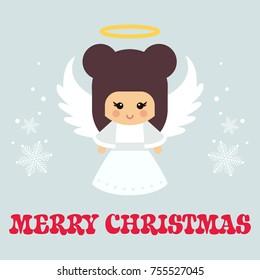 cartoon christmas angel with text vector
