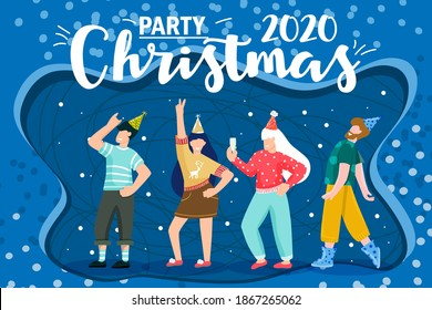 Cartoon christmas. Celebrate party 2021. Cartoon vector illustration. Corporate party. Christmas party. Flat abstract design. Happy new year 2021 Holiday winter design.