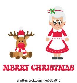 cartoon christmas deer with mrs santa