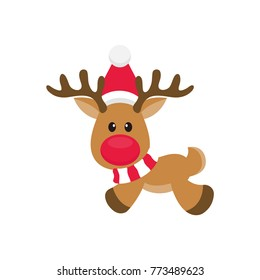 cartoon christmas deer vector