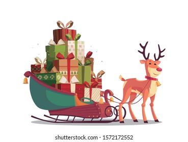 Cartoon christmas gift fawn design elements