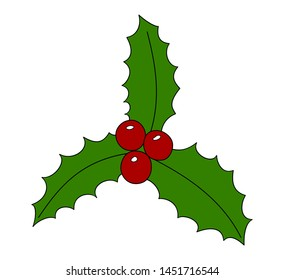 Cartoon christmas holly berry icon. Christmas symbol vector illustration isolated on white background.