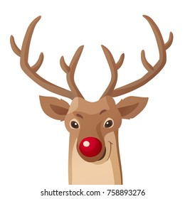 Cartoon Christmas illustration. Funny red nose reindeer isolated on white. Great for Christmas and New Year posters, banners, gift tags and labels.