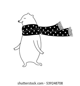 Cartoon christmas illustration with white bear in scarf. Cute vector black and white christmas illustration. Doodle monochrome christmas illustration for prints, posters, t-shirts and cards.
