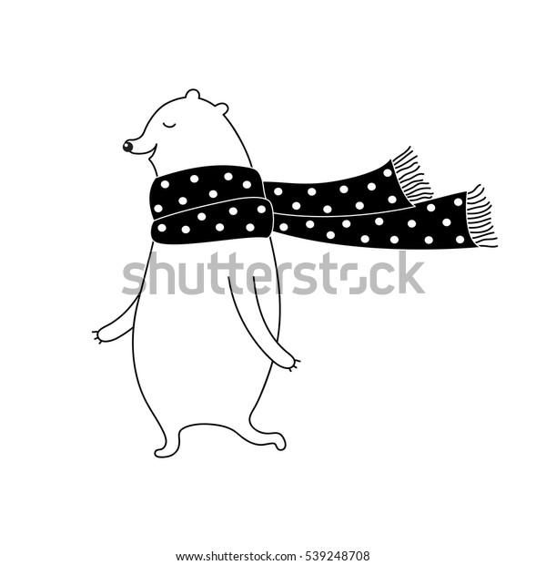 スカーフに白い熊が描かれたクリスマスイラスト 白黒のかわいいベクター画像のクリスマスイラスト プリント ポスター Tシャツ カード用のモノクロクリスマス イラストを落書きします のベクター画像素材 ロイヤリティフリー