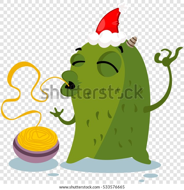 Christmas Hat Clipart Transparent Background.Cartoon Christmas Monster Red Santa Hat Stock Vector