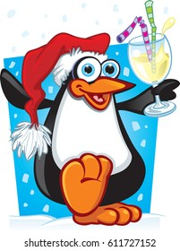 Cartoon Christmas Penguin Party time for this little guy