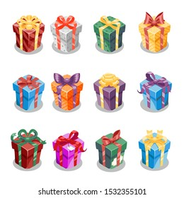 Cartoon christmas present gift box ribbon new year design icon set vector template illustration