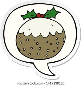 cartoon christmas pudding with speech bubble sticker