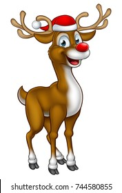 A cartoon Christmas reindeer character wearing a Santa Claus hat