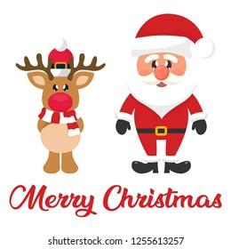 cartoon christmas santa claus with christmas cartoon deer and christmas text