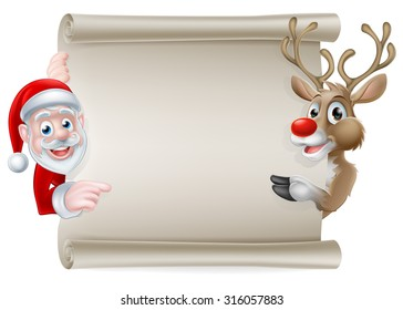 Cartoon Christmas scroll sign of Santa Claus and his reindeer pointing at a scroll banner
