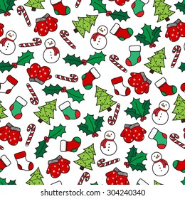 Cartoon christmas seamless pattern with stockings, mittens, candy cane, holly berries, snowman and with xmas tree. Hand drawn doodles on white background. Vector illustration eps8