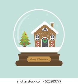 cartoon christmas snowglobe and christmas house and fir tree