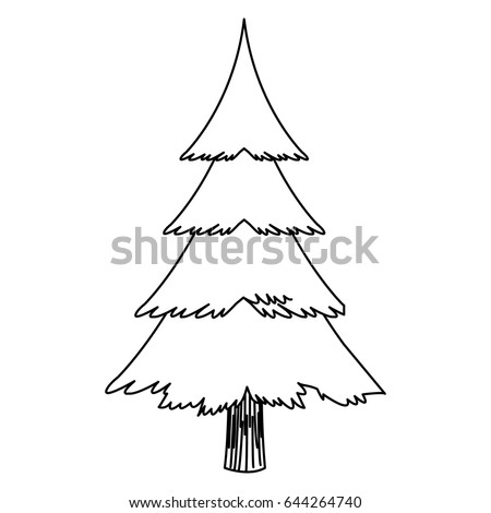 Cartoon Christmas Tree Decoration Celebration Outline Stock Vector