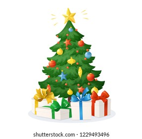 Cartoon Christmas tree with presents isolated on white background. Decorations with stars, balls and garlands. Holiday gift boxes with bow, vector illustration. For New Year cards, banners, posters.
