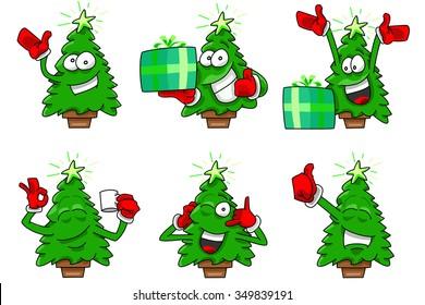 Cartoon Christmas tree set 2, Happy expressions in vectors