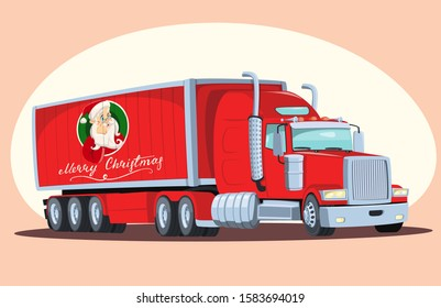 Cartoon christmas truck carrying new year presents. A cargo guy with the image of Santa Claus on board a van. Lettering. American red truck. Gift delivery. New year spirit