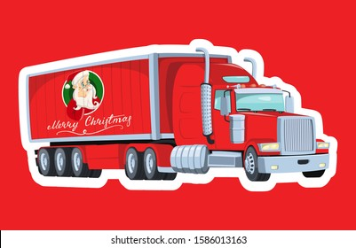 Cartoon christmas truck carrying new year presents. Image of Santa Claus on board a van. Lettering. American red truck. Gift delivery.