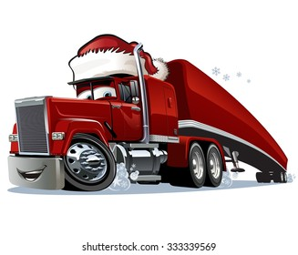 Cartoon Christmas truck isolated on white background. Available EPS-10 format separated by groups and layers for easy edit