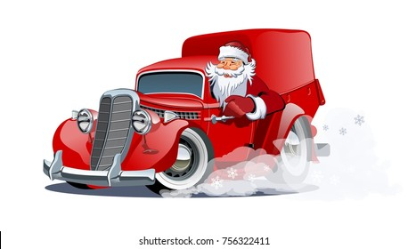 Cartoon christmas truck isolated on white background. Available EPS-10 vector format separated by groups and layers for easy edit