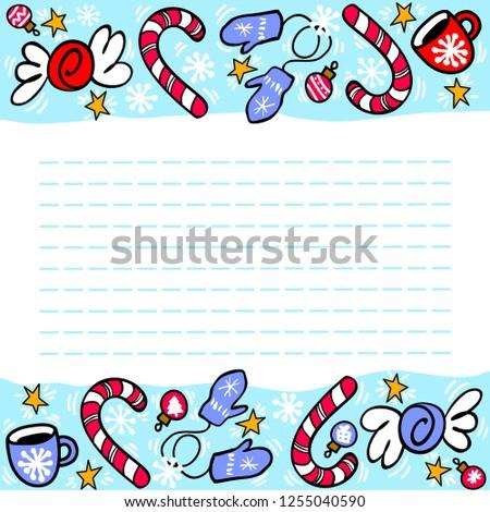 Cartoon Christmas Wish List Candy Cane เวกเตอร สต อก ปลอดค า