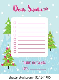 christmas wishlist letter santa template happy stock vector royalty