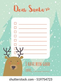 Dear santa letter images stock photos vectors shutterstock cartoon christmas wish list with christmas trees and deer a letter to santa claus template spiritdancerdesigns Images