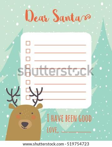 Cartoon Christmas Wish List Christmas Trees Stock Vector (Royalty ...
