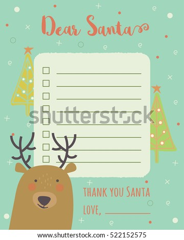 Cartoon Christmas Wish List Christmas Trees Stock Vector (Royalty ...