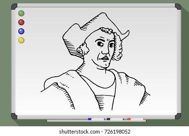 Cartoon of Christopher Columbus on whiteboard. Columbus day. Hand drawn vector stock illustration
