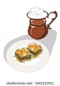 cartoon churn ayran and baklava on the plate  illustration