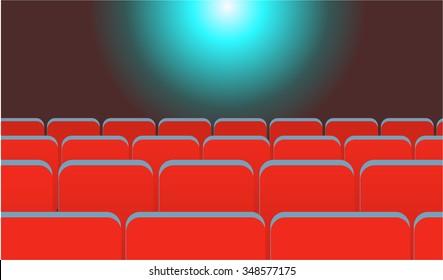 Cartoon cinema background scene with seats and light