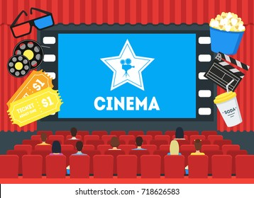 Cartoon Cinema Concept Auditorium Interior with Movie Screen Public Flat Style Design. Vector illustration