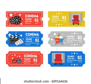 Cartoon Cinema Tickets Small Set Flat Design Style Leisure Industry. Vector illustration