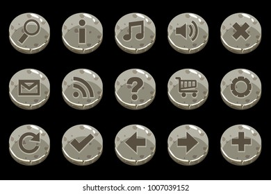 Cartoon Circle old stone buttons