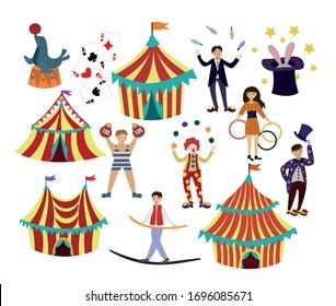 Cartoon circus. Circus artist and animals. Circus show